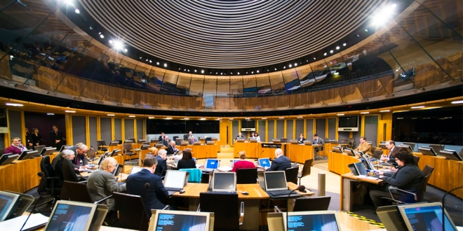 Senedd during Plenary, showing AMs in their seats