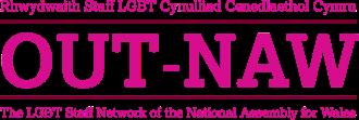Logo OUT-NAW, Rhwydwaith Cydraddoldeb yn y Gweithle LGBT y Cynulliad