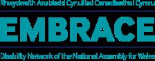 Logo Embrace, rhwydwaith anabledd y Cynulliad