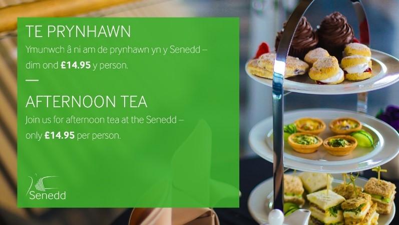 Te Prynhawn - Ymunwch a ni am de prynhawn yn y Senedd - dim ond £14.95 y person