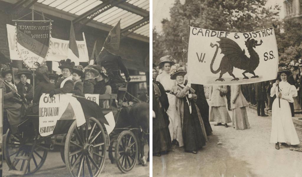O'r chwith i'r dde: Cynghrair Rhyddid i Fenywod, cangen Caerydd; Gorymdaith Fawr y Swffragetiaid, Llundain 1918